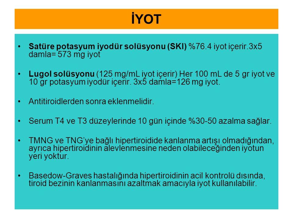 İYOT Satüre potasyum iyodür solüsyonu (SKI) %76.4 iyot içerir.3x5 damla= 573 mg iyot.