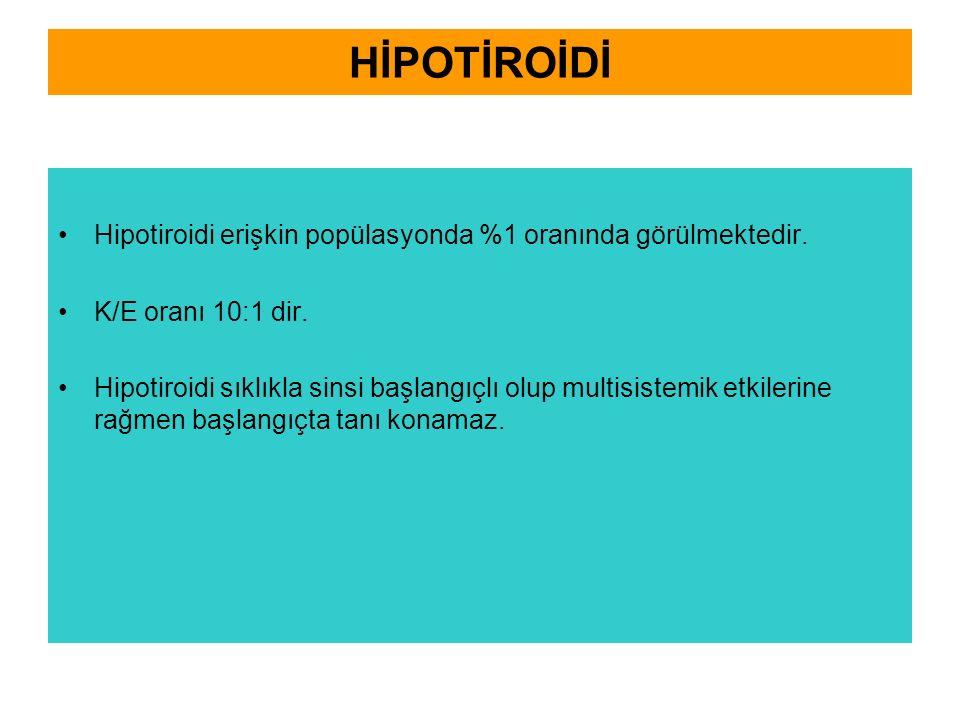 HİPOTİROİDİ Hipotiroidi erişkin popülasyonda %1 oranında görülmektedir. K/E oranı 10:1 dir.