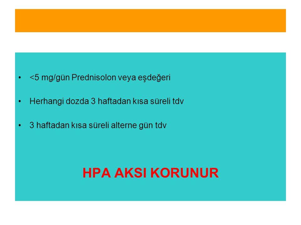 HPA AKSI KORUNUR <5 mg/gün Prednisolon veya eşdeğeri