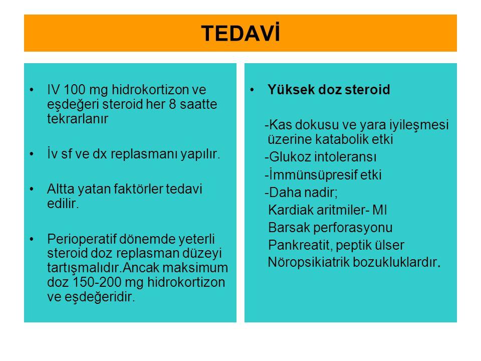 TEDAVİ IV 100 mg hidrokortizon ve eşdeğeri steroid her 8 saatte tekrarlanır. İv sf ve dx replasmanı yapılır.