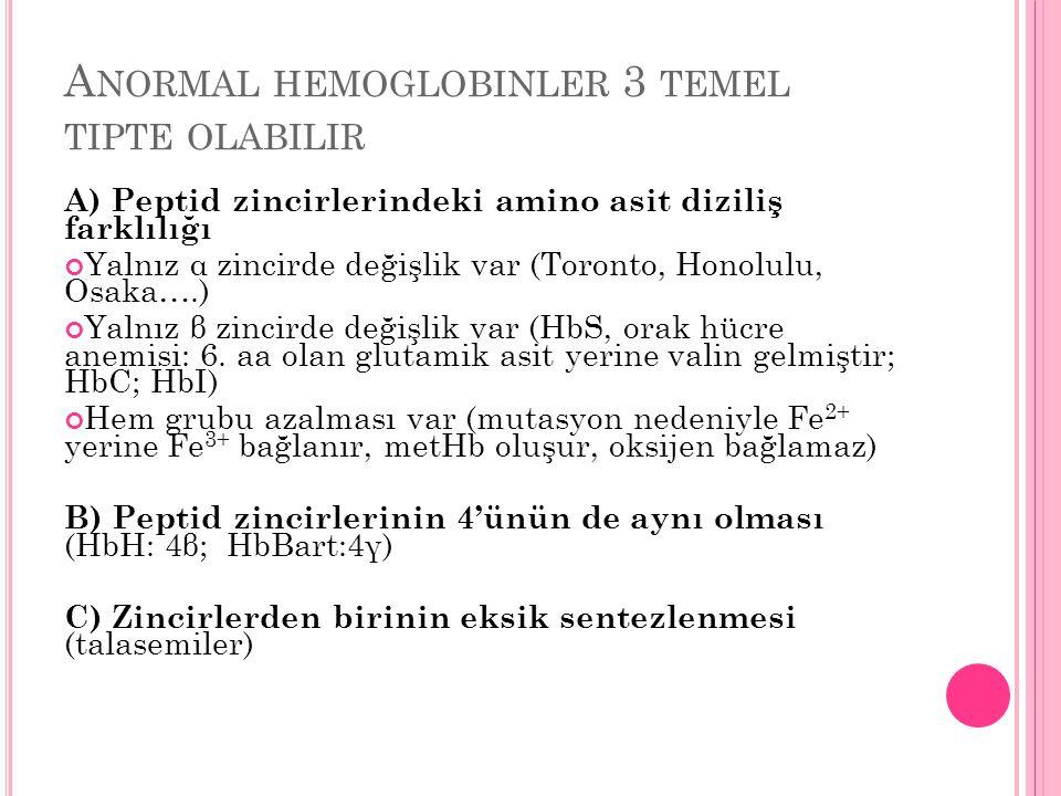 Anormal hemoglobinler 3 temel tipte olabilir