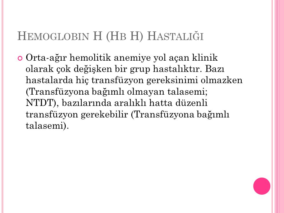 Hemoglobin H (Hb H) Hastaliği