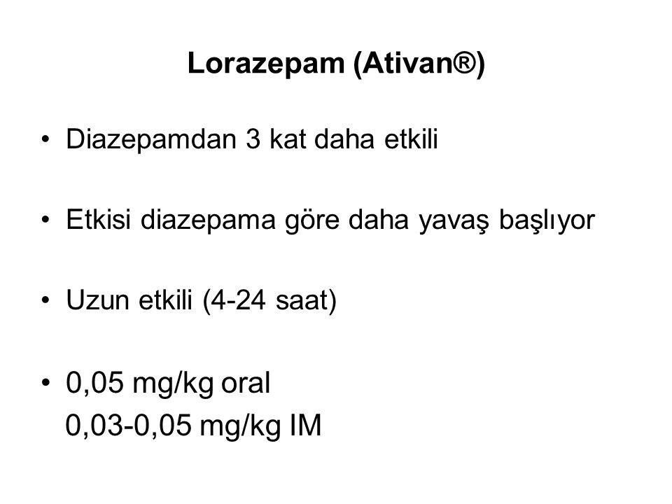 Lorazepam (Ativan®) 0,05 mg/kg oral 0,03-0,05 mg/kg IM