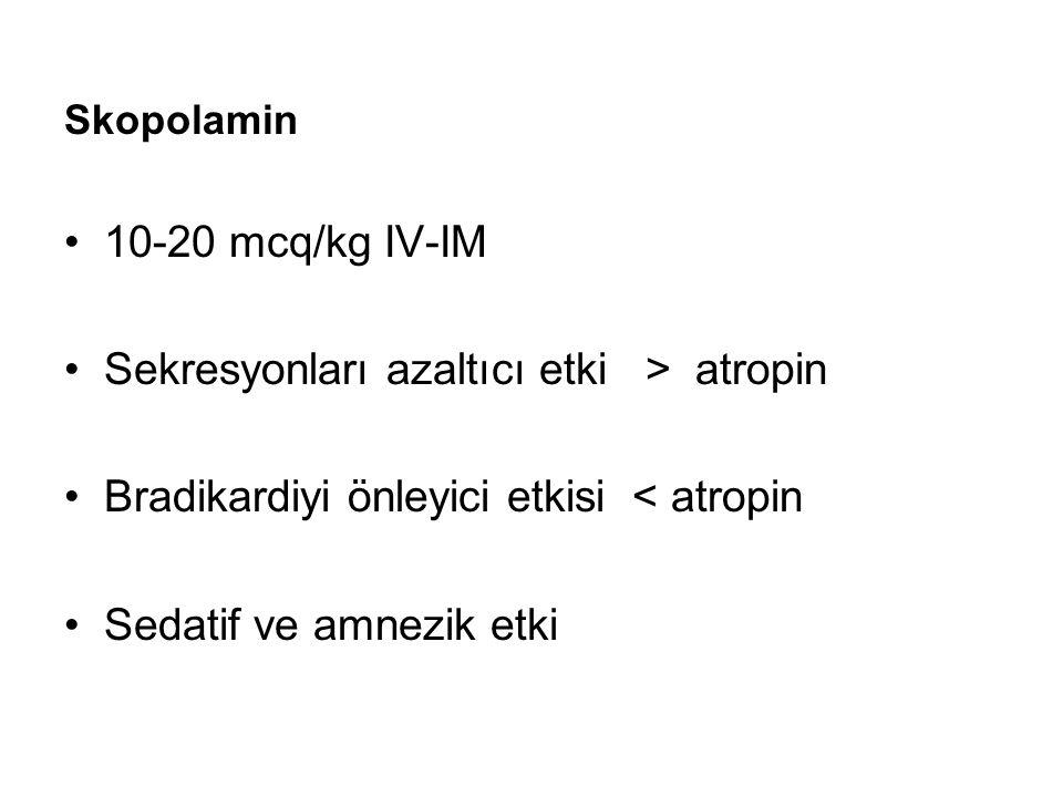 Sekresyonları azaltıcı etki > atropin