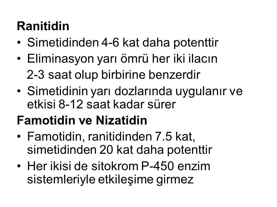 Ranitidin Simetidinden 4-6 kat daha potenttir. Eliminasyon yarı ömrü her iki ilacın. 2-3 saat olup birbirine benzerdir.