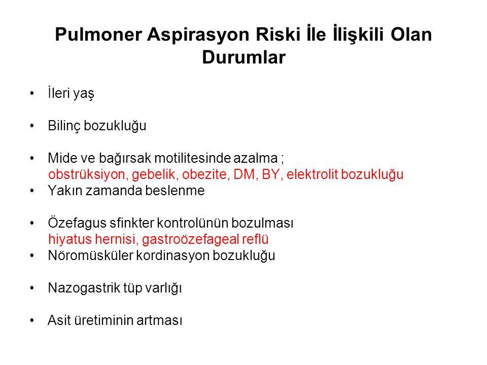 Pulmoner Aspirasyon Riski İle İlişkili Olan Durumlar