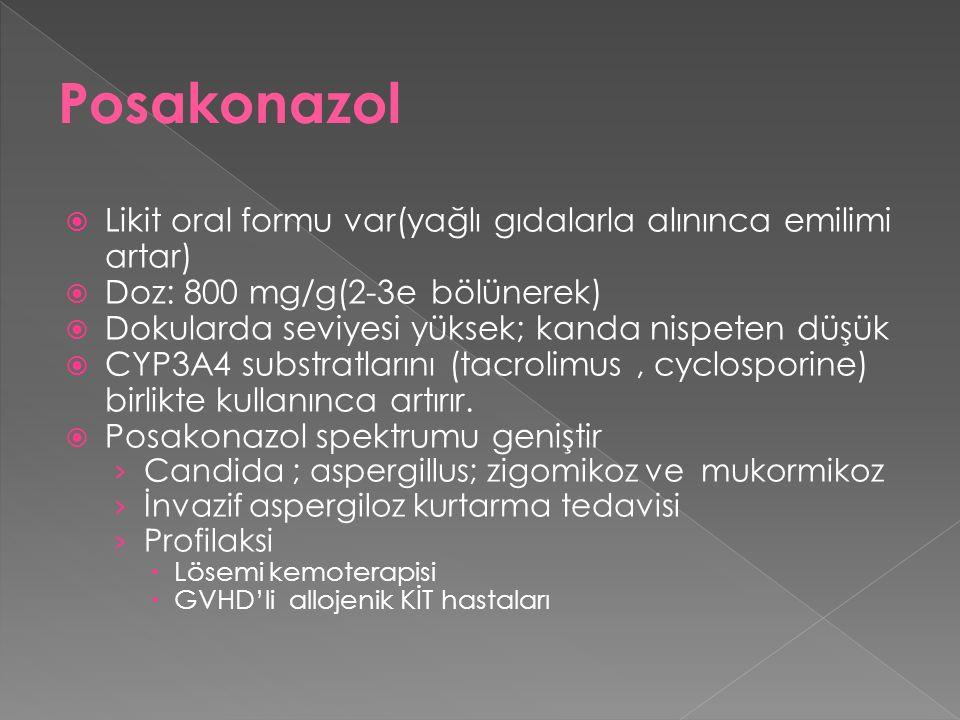 Posakonazol Likit oral formu var(yağlı gıdalarla alınınca emilimi artar) Doz: 800 mg/g(2-3e bölünerek)