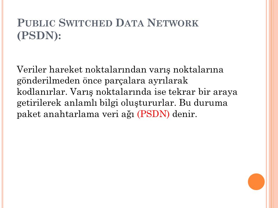 Public Switched Data Network (PSDN):