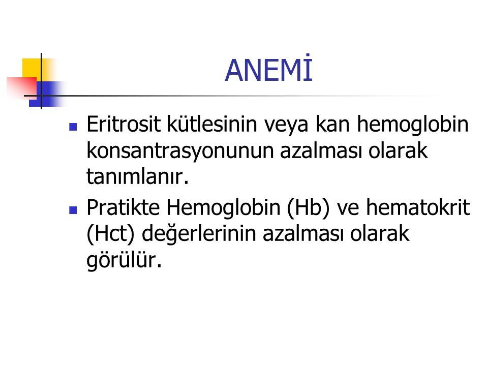 ANEMİ Eritrosit kütlesinin veya kan hemoglobin konsantrasyonunun azalması olarak tanımlanır.