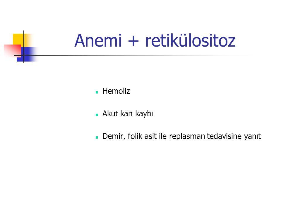 Anemi + retikülositoz Hemoliz Akut kan kaybı