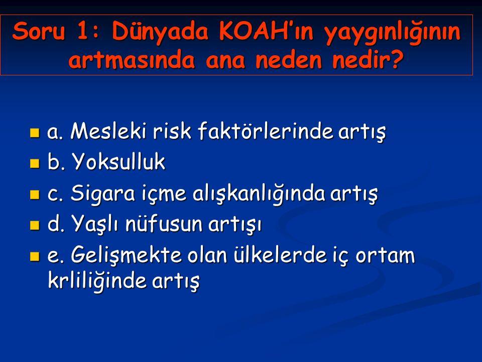 Soru 1: Dünyada KOAH'ın yaygınlığının artmasında ana neden nedir
