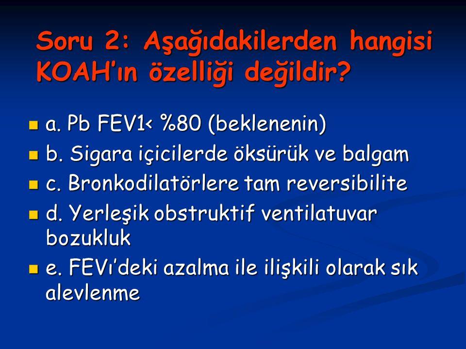 Soru 2: Aşağıdakilerden hangisi KOAH'ın özelliği değildir