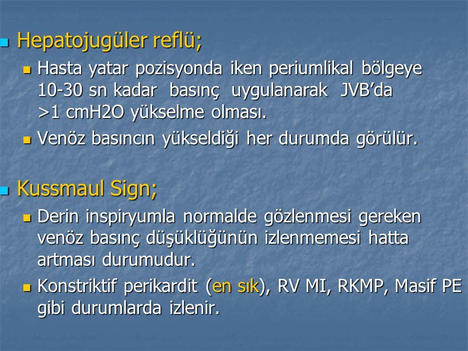 Hepatojugüler reflü; Kussmaul Sign;