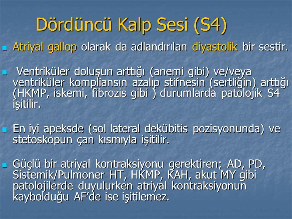 Dördüncü Kalp Sesi (S4) Atriyal gallop olarak da adlandırılan diyastolik bir sestir.