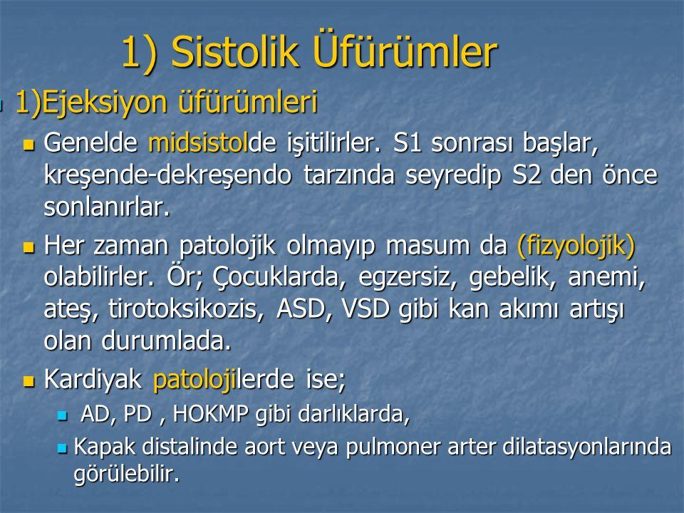 1) Sistolik Üfürümler 1)Ejeksiyon üfürümleri