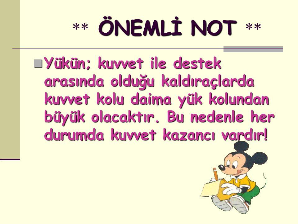 ** ÖNEMLİ NOT **