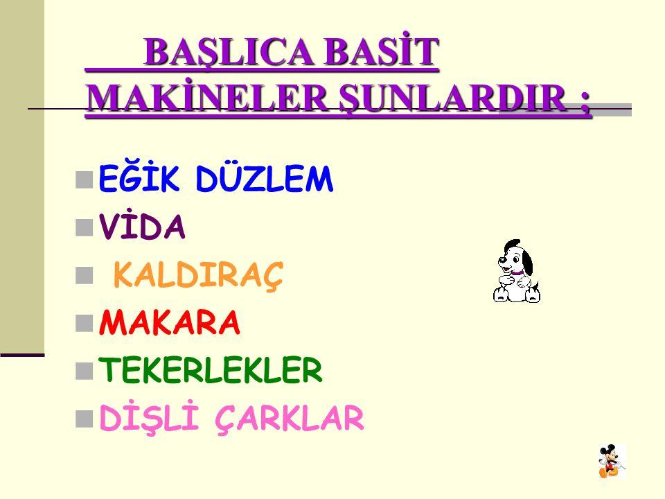 BAŞLICA BASİT MAKİNELER ŞUNLARDIR ;