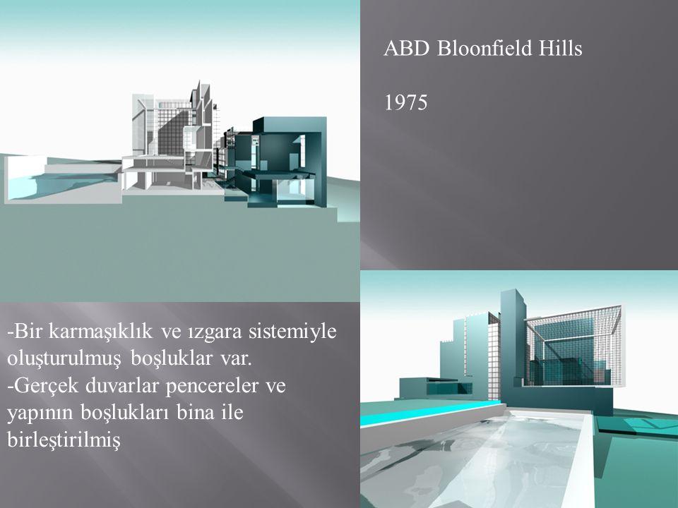 ABD Bloonfield Hills 1975. -Bir karmaşıklık ve ızgara sistemiyle oluşturulmuş boşluklar var.