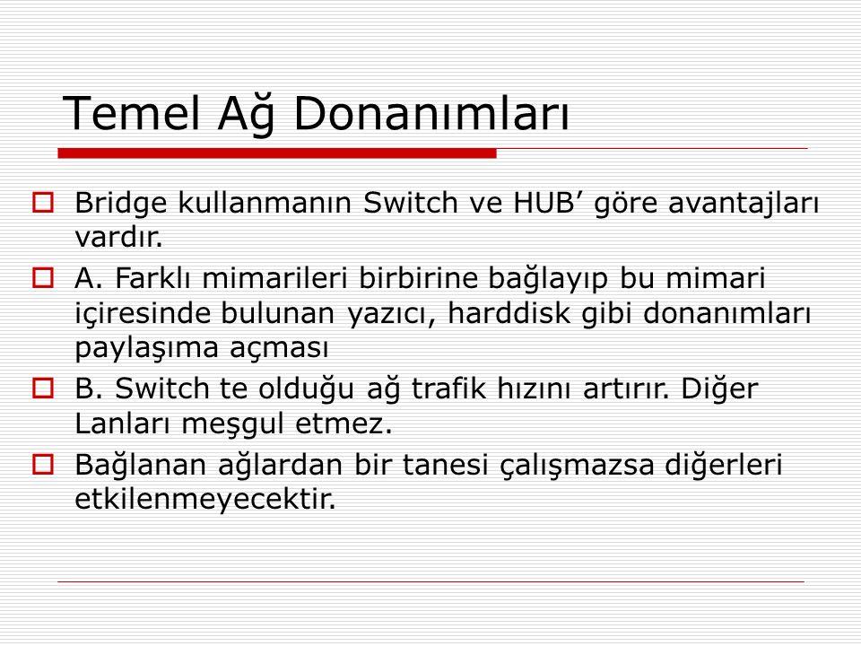 Temel Ağ Donanımları Bridge kullanmanın Switch ve HUB' göre avantajları vardır.