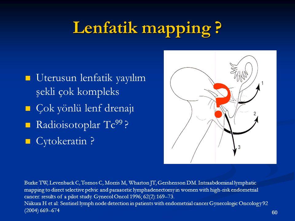 Lenfatik mapping Uterusun lenfatik yayılım şekli çok kompleks