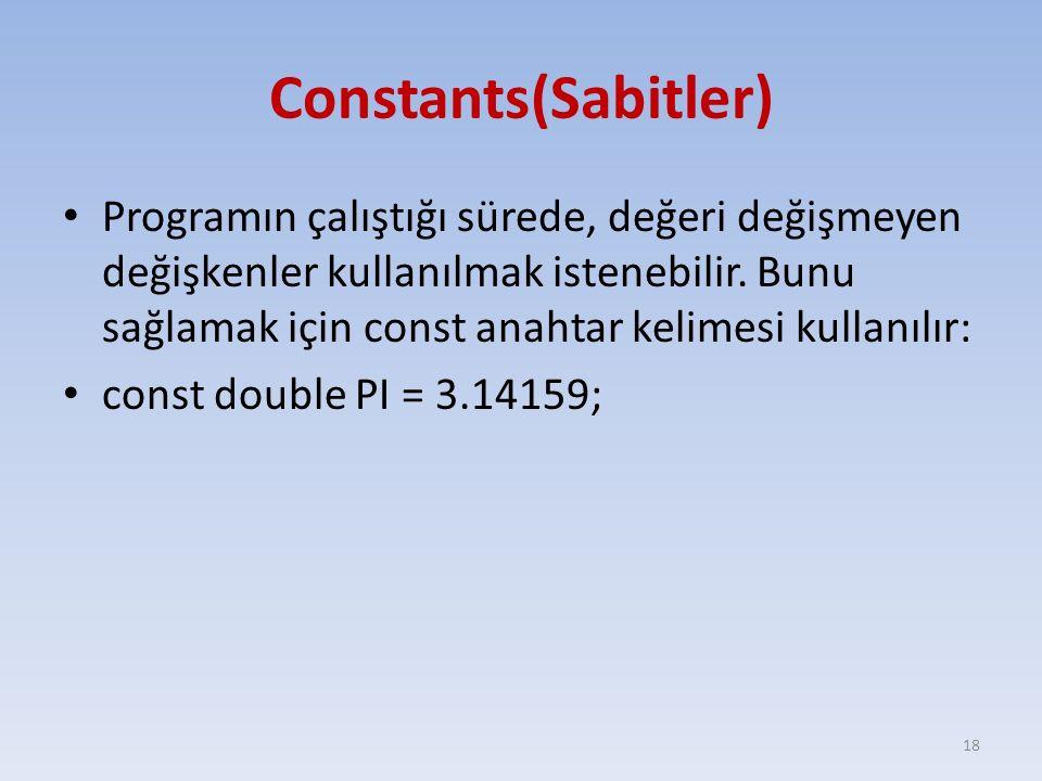 Constants(Sabitler)
