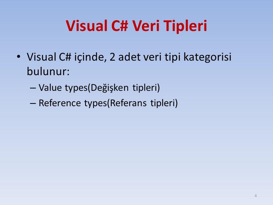 Visual C# Veri Tipleri Visual C# içinde, 2 adet veri tipi kategorisi bulunur: Value types(Değişken tipleri)