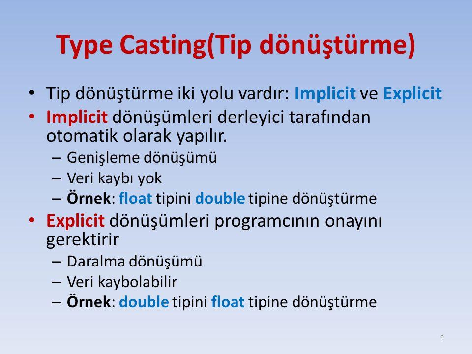 Type Casting(Tip dönüştürme)