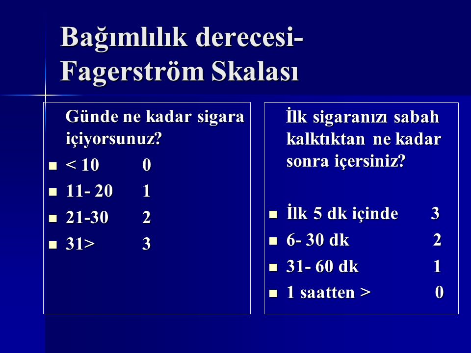 Bağımlılık derecesi-Fagerström Skalası
