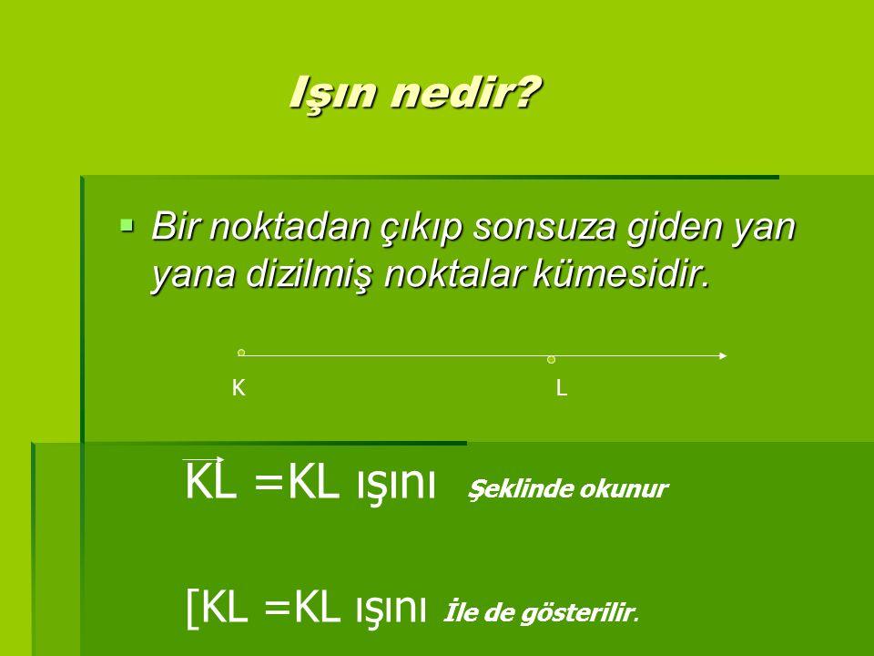 KL =KL ışını Şeklinde okunur