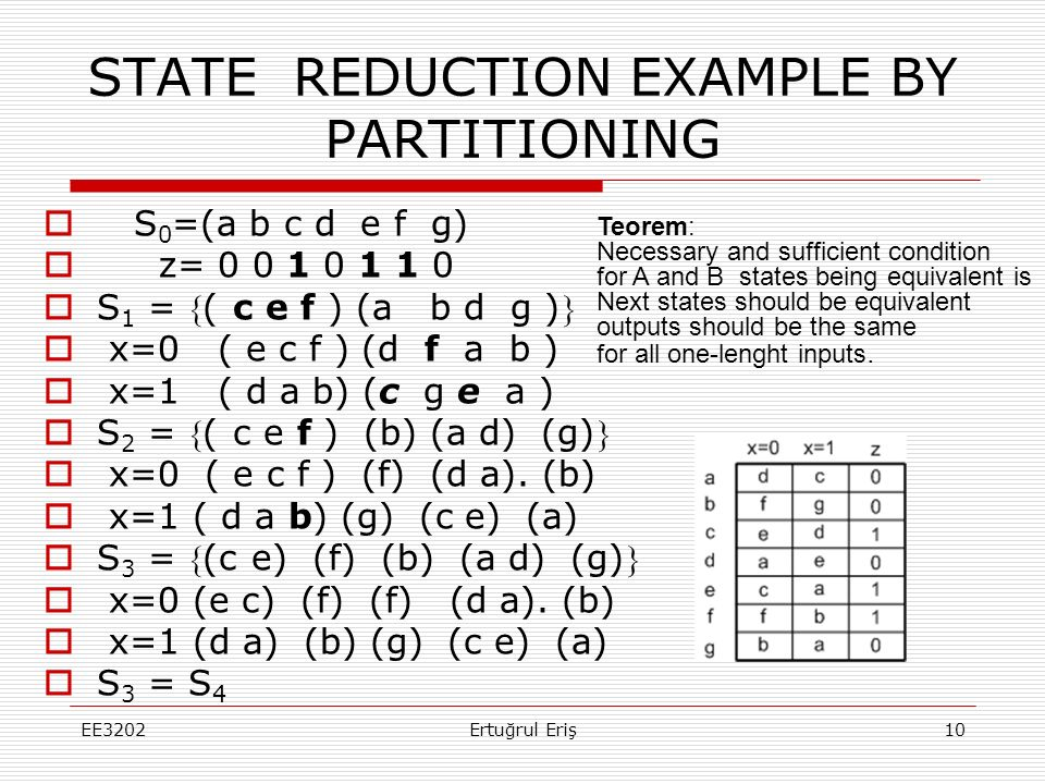 STATE REDUCTION EXAMPLE BY PARTITIONING