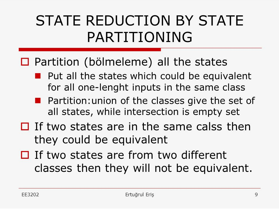 STATE REDUCTION BY STATE PARTITIONING