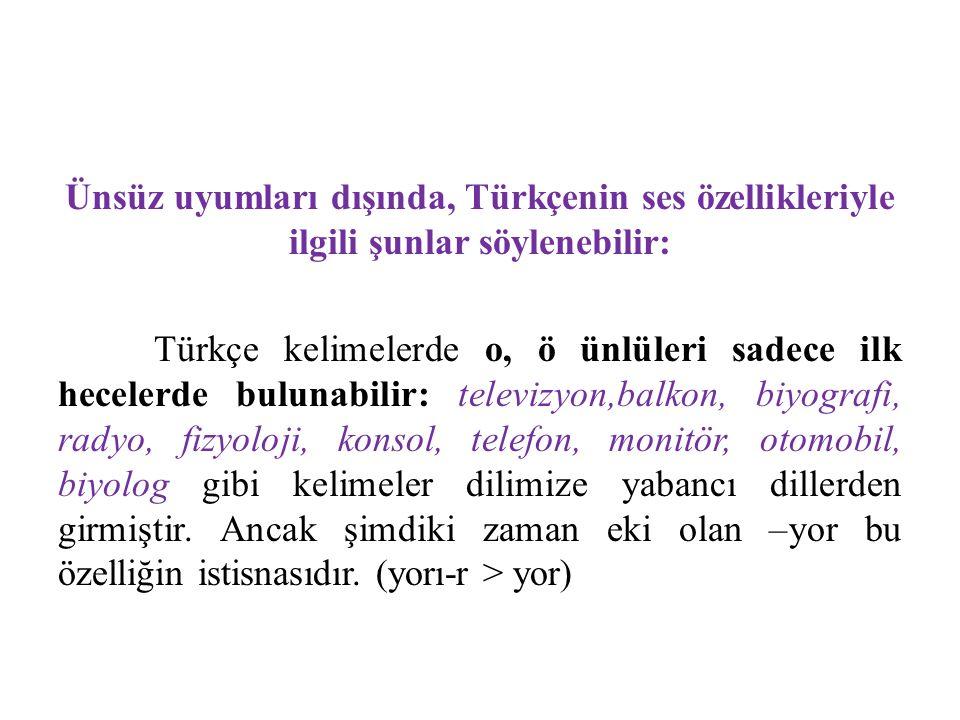 Ünsüz uyumları dışında, Türkçenin ses özellikleriyle ilgili şunlar söylenebilir: