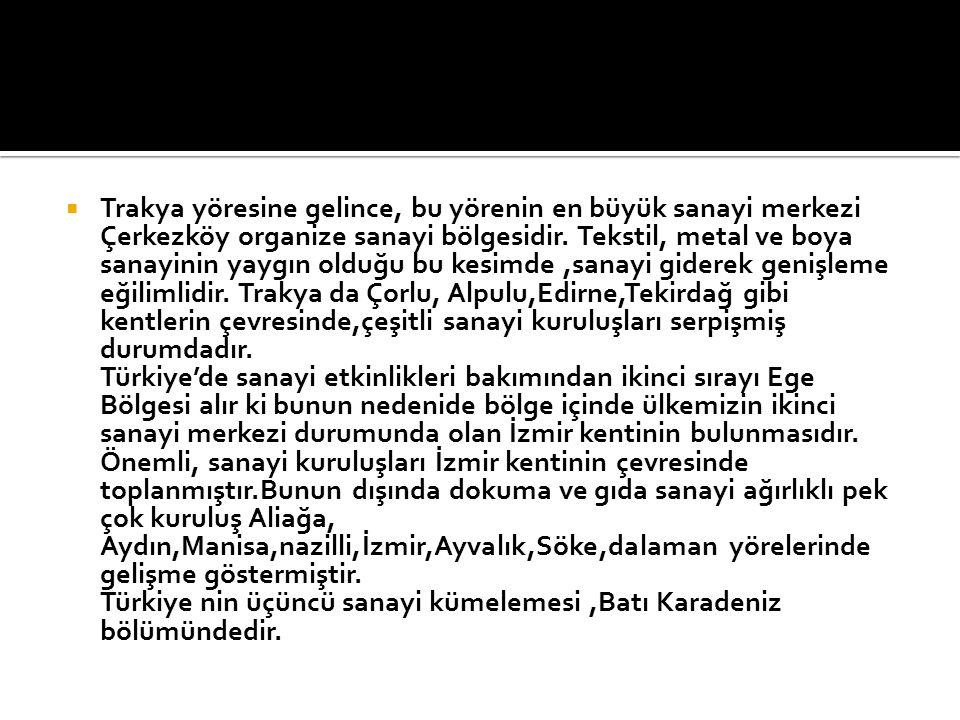 Trakya yöresine gelince, bu yörenin en büyük sanayi merkezi Çerkezköy organize sanayi bölgesidir.