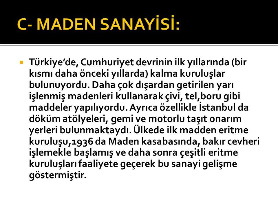 C- MADEN SANAYİSİ: