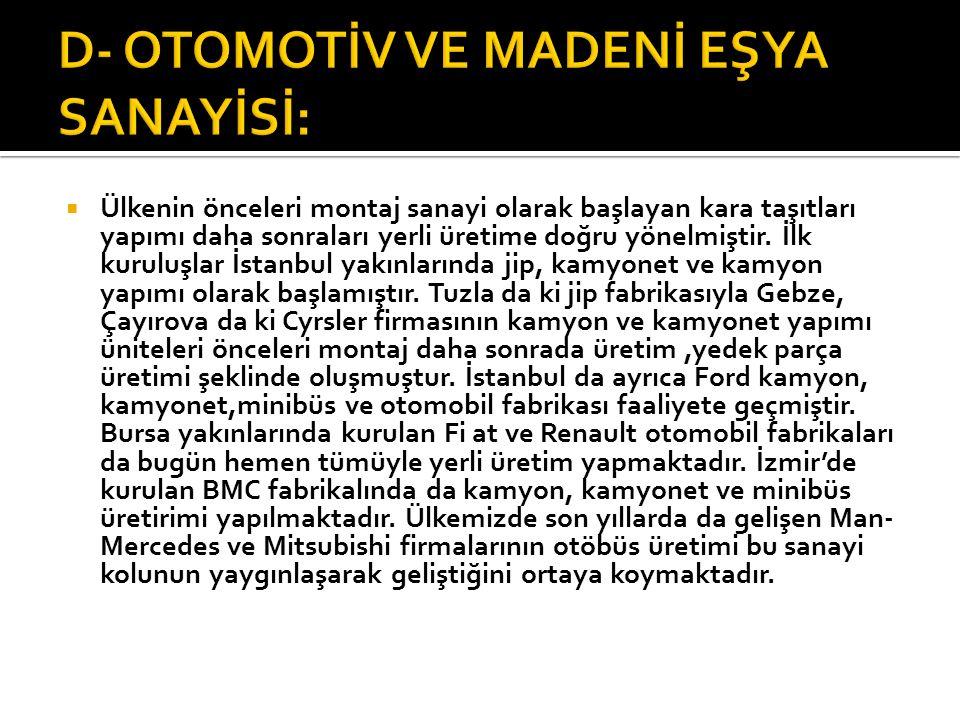 D- OTOMOTİV VE MADENİ EŞYA SANAYİSİ: