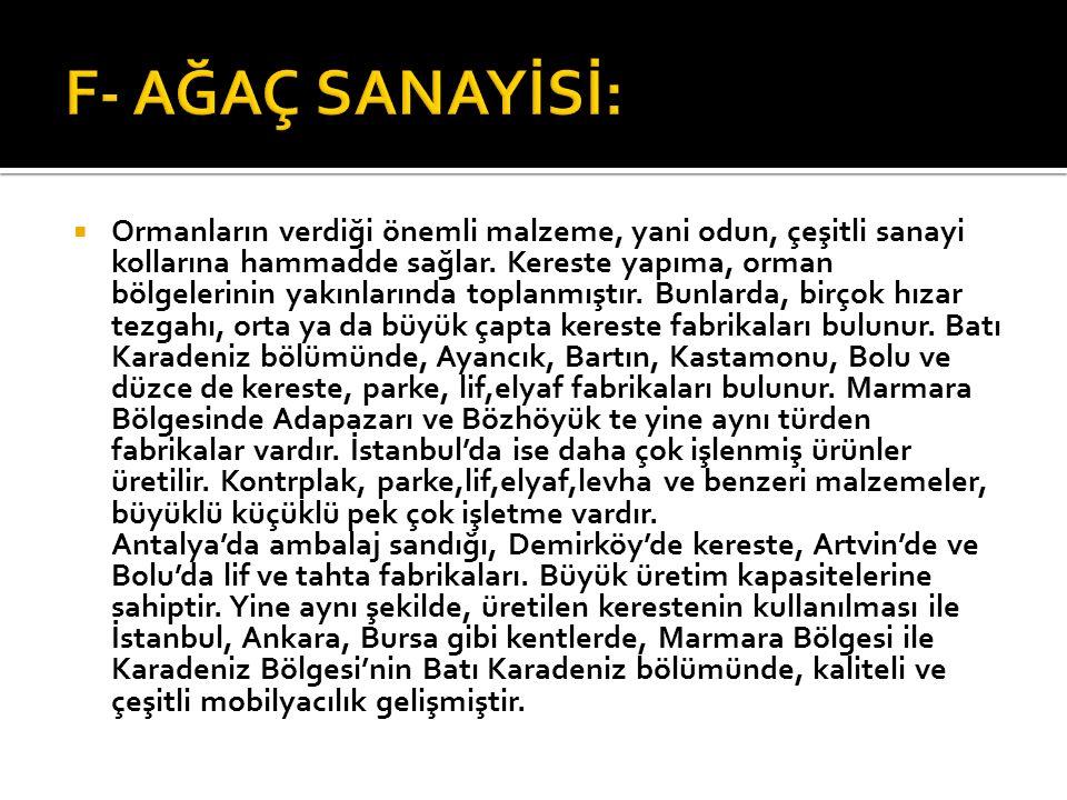F- AĞAÇ SANAYİSİ: