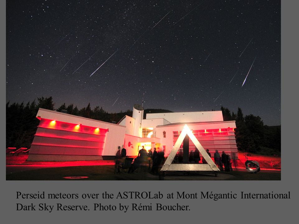 Perseid meteors over the ASTROLab at Mont Mégantic International Dark Sky Reserve.