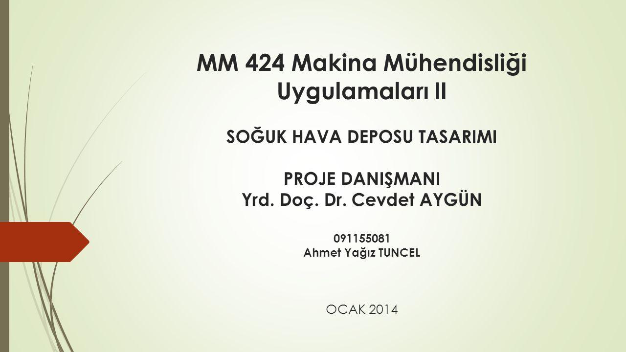 MM 424 Makina Mühendisliği Uygulamaları II SOĞUK HAVA DEPOSU TASARIMI PROJE DANIŞMANI Yrd.