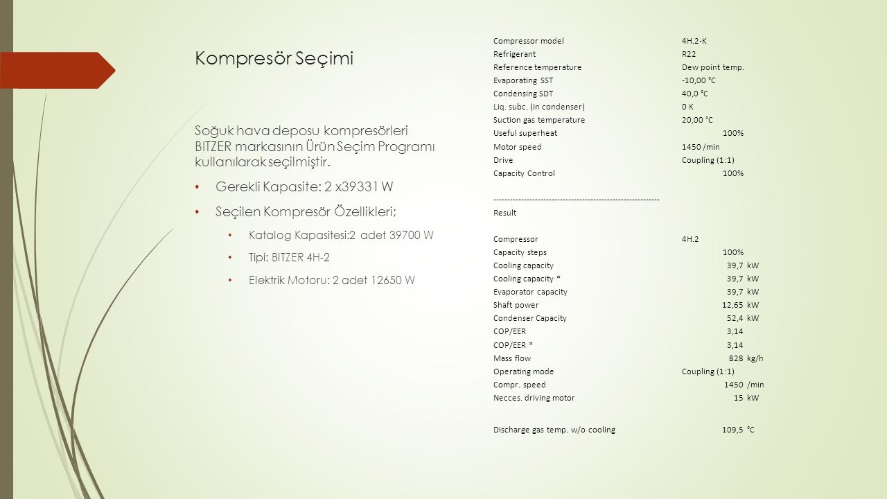 Kompresör Seçimi Compressor model. 4H.2-K. Refrigerant. R22. Reference temperature. Dew point temp.
