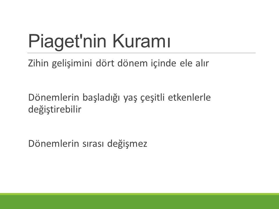 Piaget nin Kuramı Zihin gelişimini dört dönem içinde ele alır