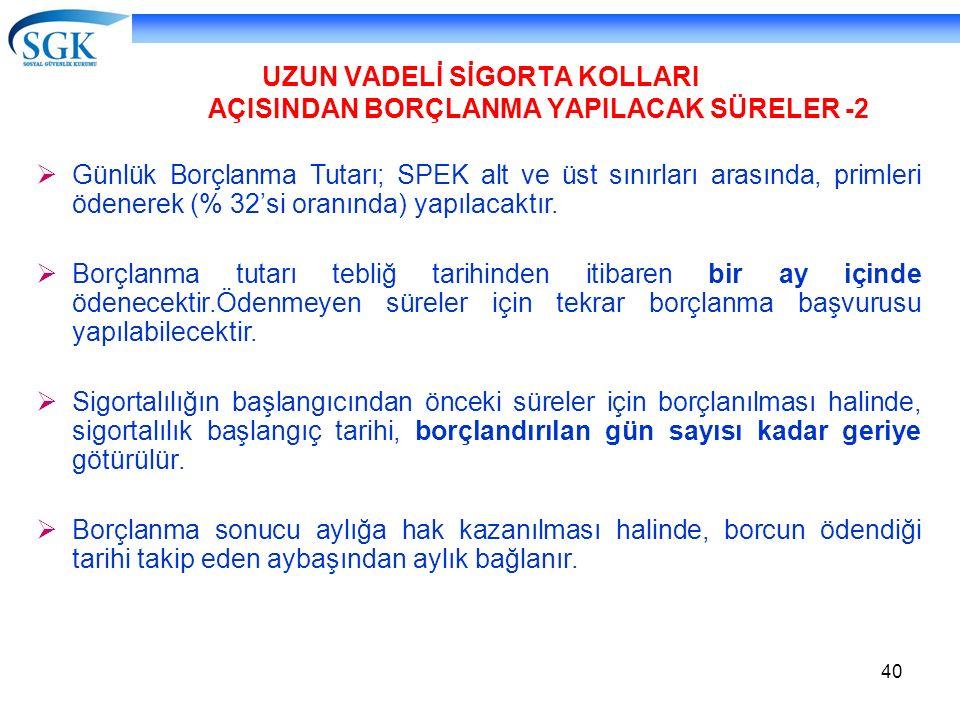 UZUN VADELİ SİGORTA KOLLARI AÇISINDAN BORÇLANMA YAPILACAK SÜRELER -2
