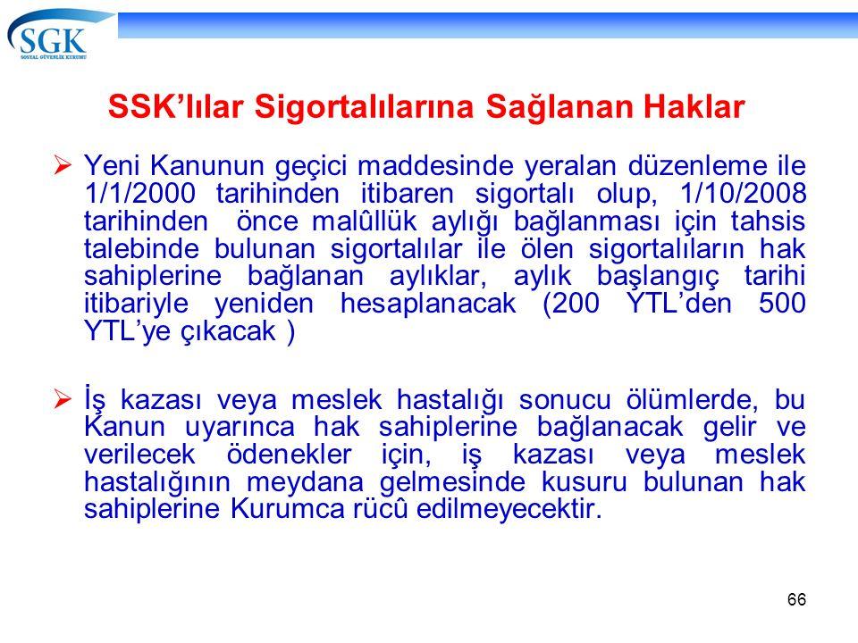 SSK'lılar Sigortalılarına Sağlanan Haklar