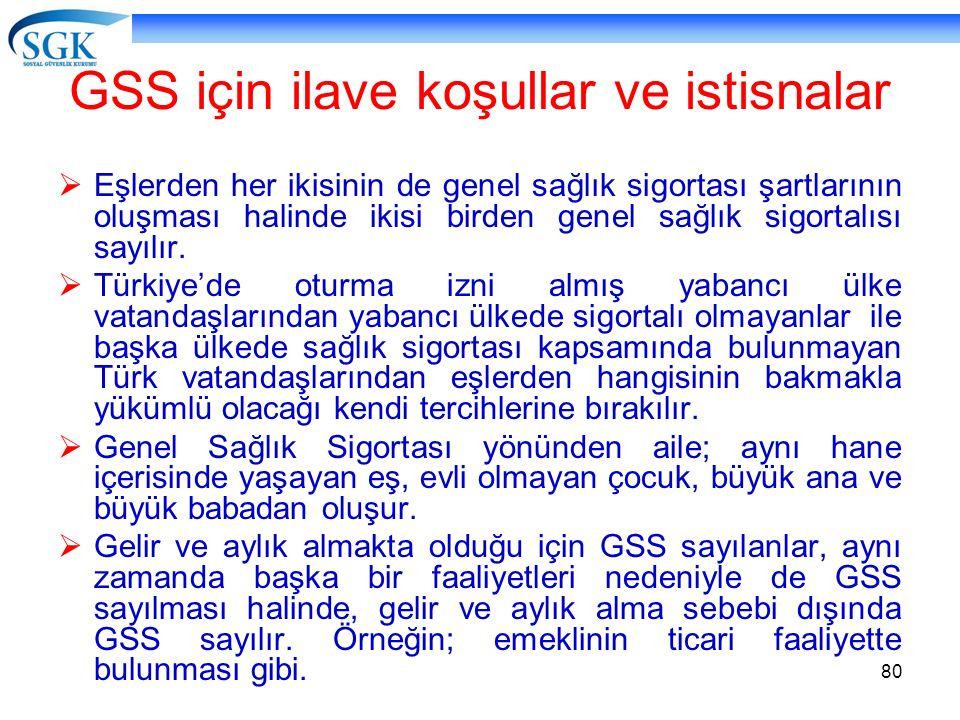 GSS için ilave koşullar ve istisnalar