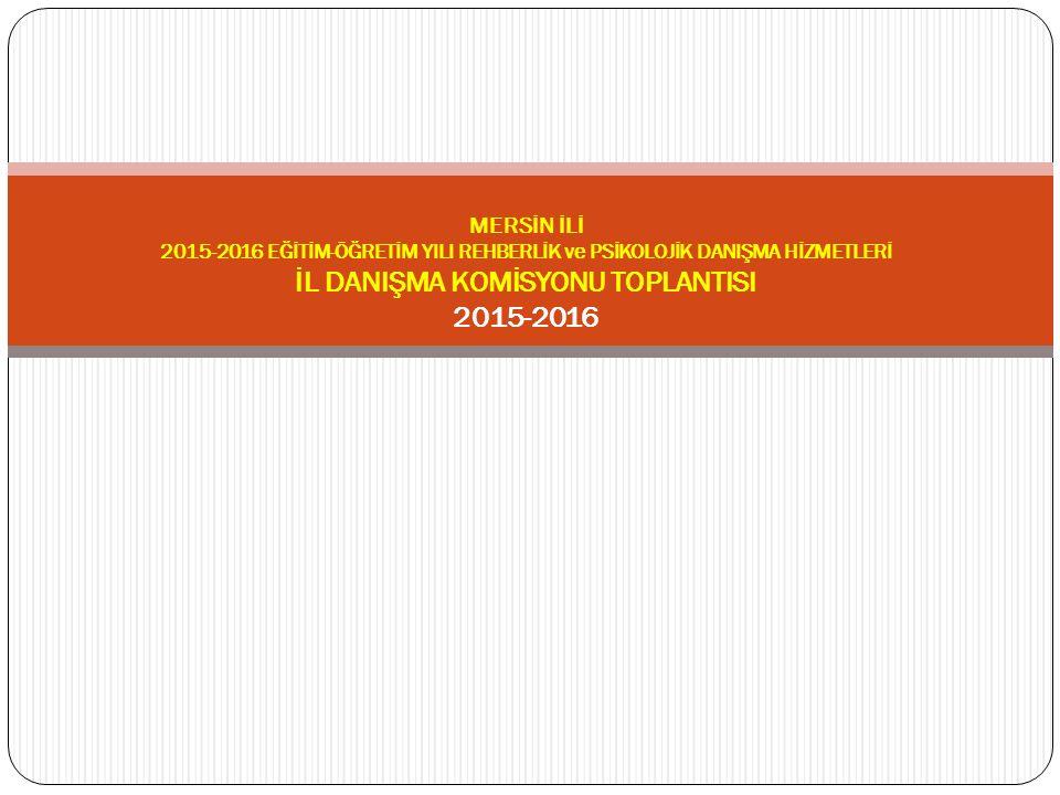 MERSİN İLİ 2015-2016 EĞİTİM-ÖĞRETİM YILI REHBERLİK ve PSİKOLOJİK DANIŞMA HİZMETLERİ İL DANIŞMA KOMİSYONU TOPLANTISI 2015-2016