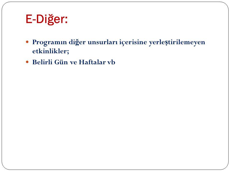 E-Diğer: Programın diğer unsurları içerisine yerleştirilemeyen etkinlikler; Belirli Gün ve Haftalar vb.