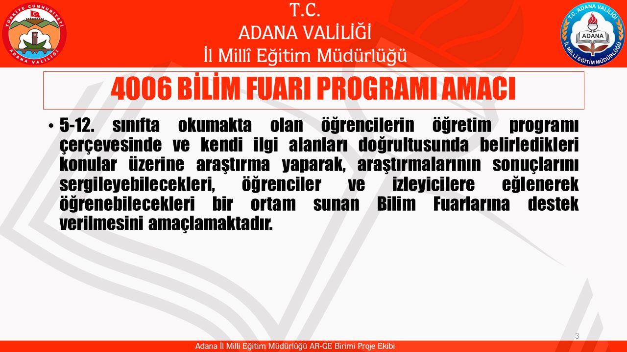 4006 BİLİM FUARI PROGRAMI AMACI