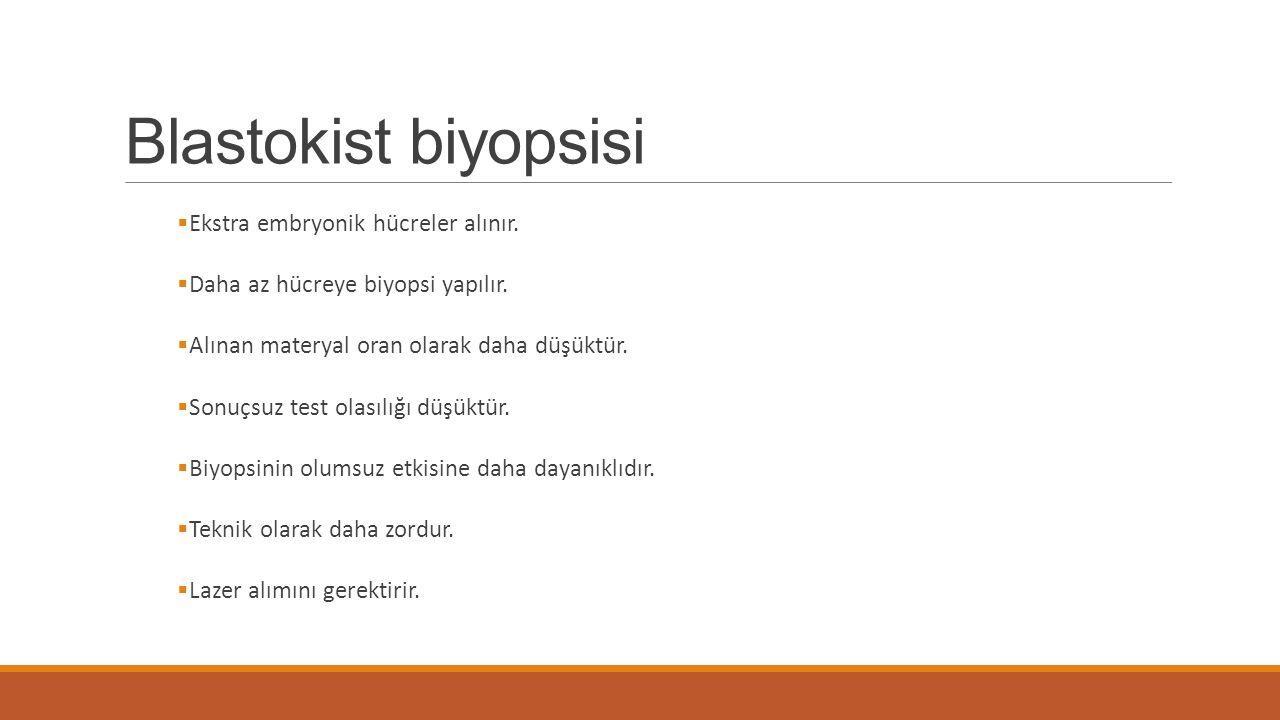 Blastokist biyopsisi Ekstra embryonik hücreler alınır.