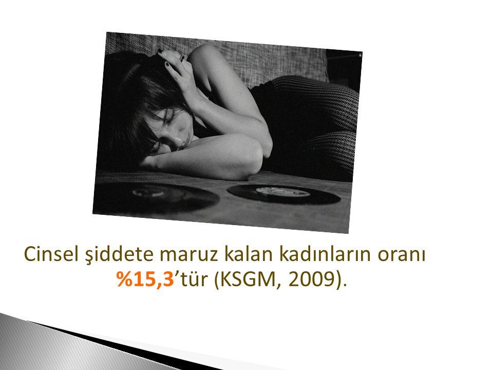 Cinsel şiddete maruz kalan kadınların oranı %15,3'tür (KSGM, 2009).