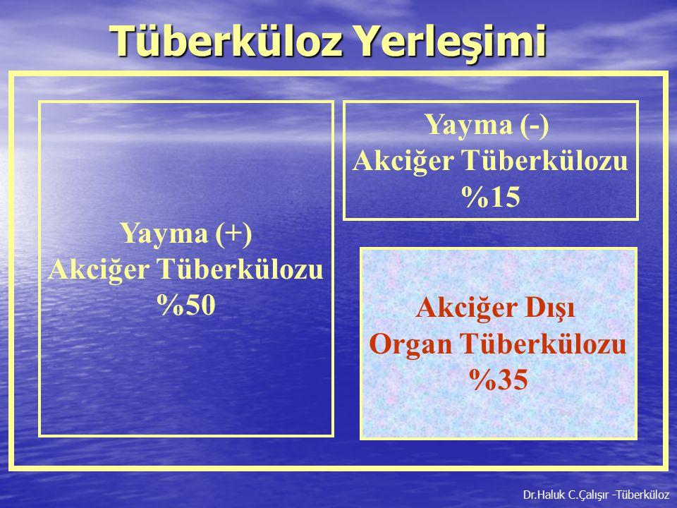 Tüberküloz Yerleşimi Yayma (-) %15 Yayma (+) Akciğer Tüberkülozu %50