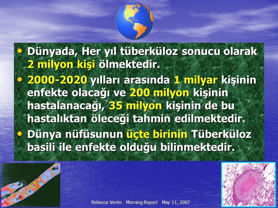 Dünyada, Her yıl tüberküloz sonucu olarak 2 milyon kişi ölmektedir.